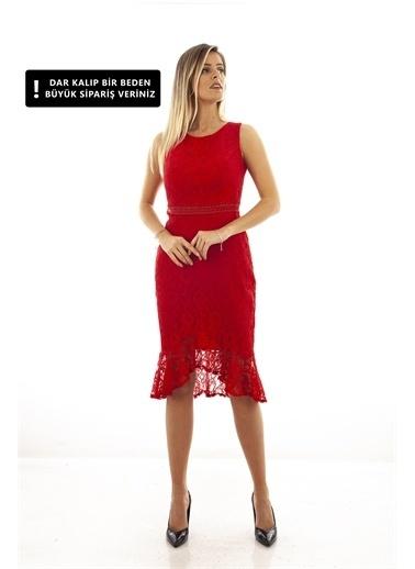 Belamore  Kırmızı Dantel Balık Abiye & Mezuniyet Elbisesi 1608232.08 Kırmızı